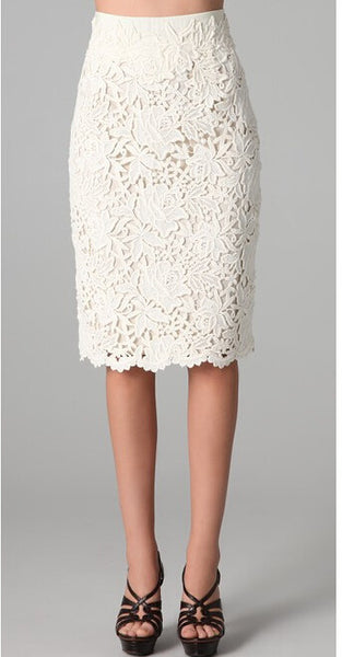 Lace Crochet Pencil Skirt - S / Light Beige - trendiU - 1