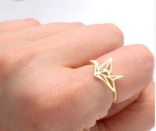 Origami Crane Ring - 18K Gold Plated - trendiU - 1