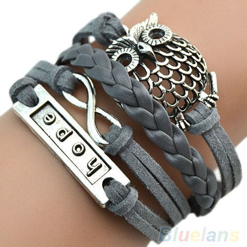 Braided Leather Cuff Bracelet - Grey Owl - trendiU - 1