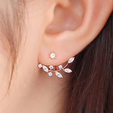 Crystal Leaves Stud Earrings - Rose Gold - trendiU - 4