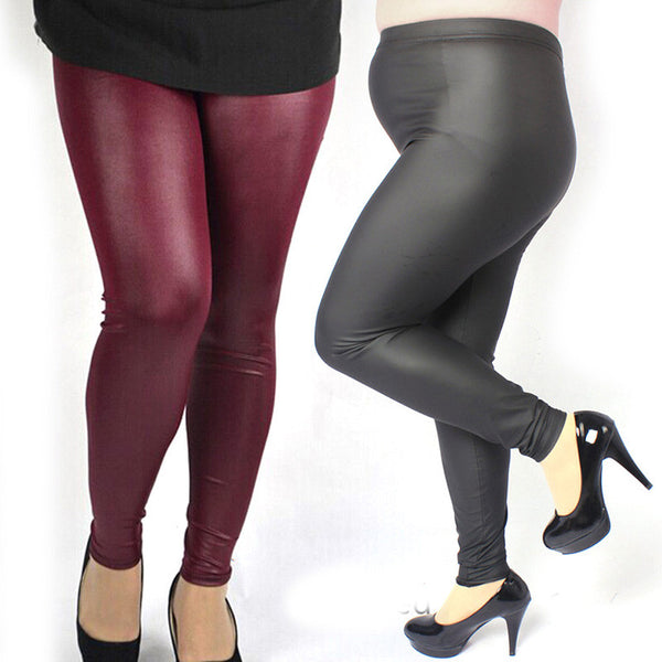 Faux Leather Plus Size Leggings -  - trendiU - 1