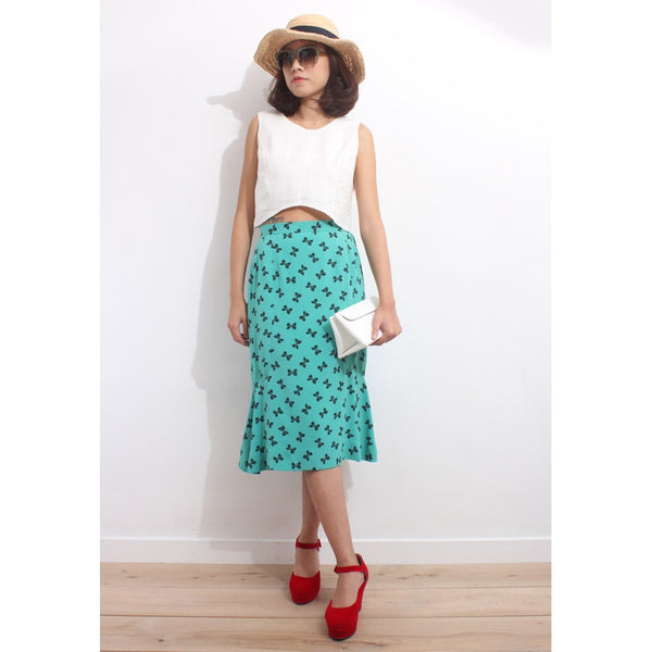 Vintage 1980s Mini Bow Chiffon Skirt