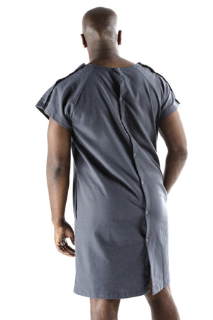 funny mens hospital gown navy front