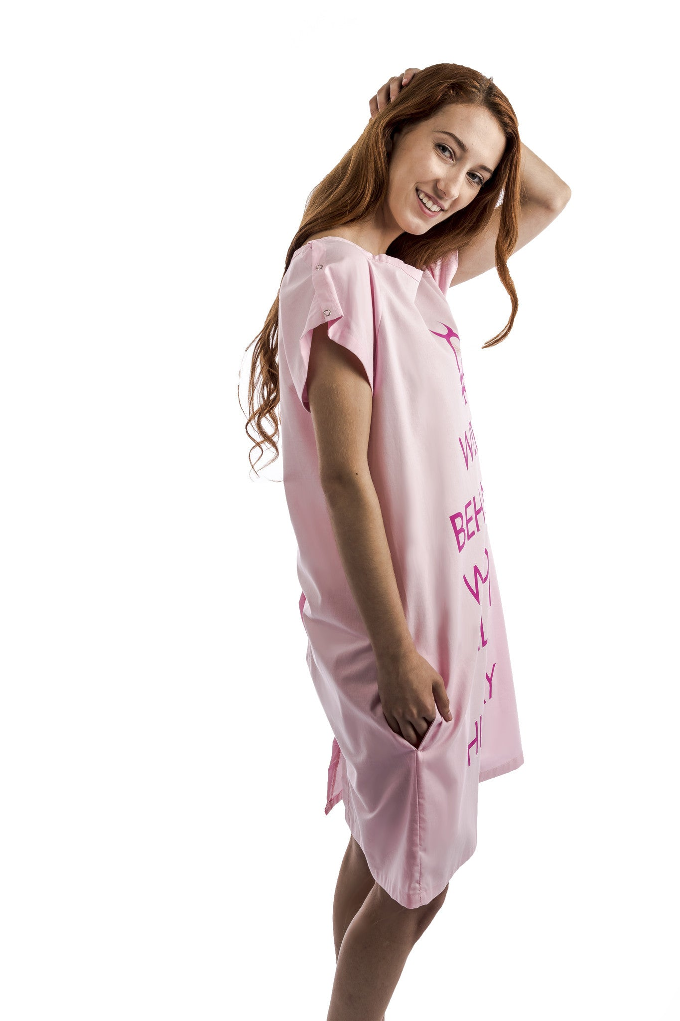 funny hospital gift for women pink gown side