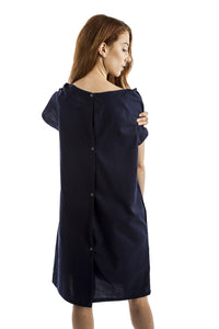 fun women's hospital gown navy with peace sign