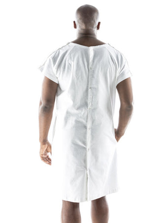 funny hospital robe for men white from behind