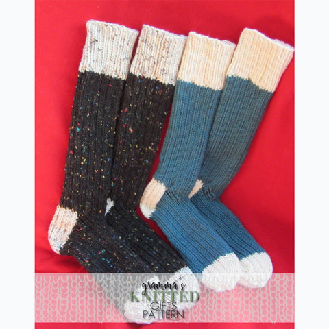 Adult Two Tone Sock Knitting Pattern