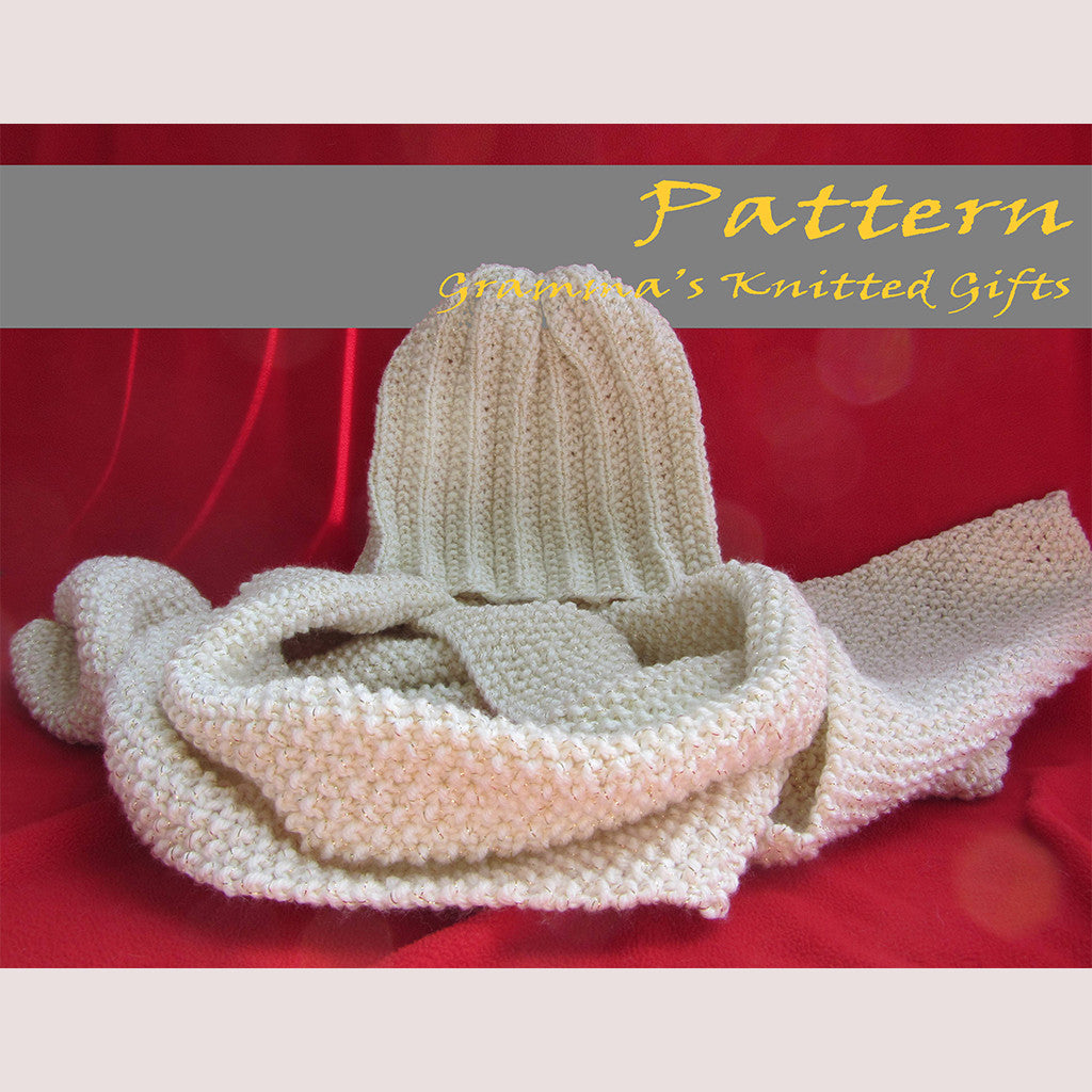 Adult Ribbed Hat And Seed Stitch Scarf Knitting Pattern