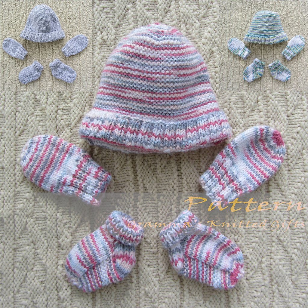 Newborn Mittens, Booties and Beanie Set Knitting Pattern