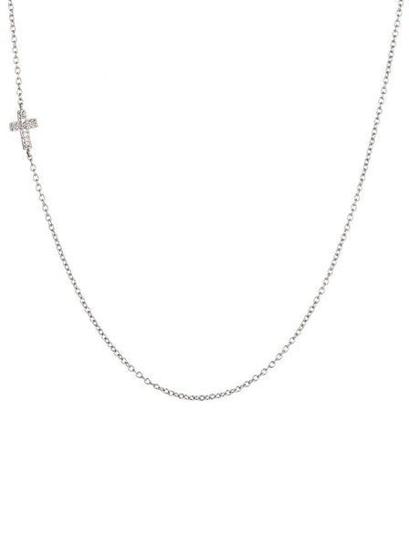 Pavé Cross Necklace - Silver