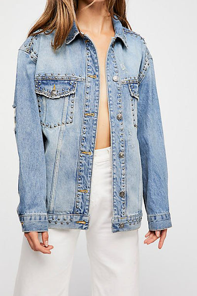 Studded Trucker Denim Jacket