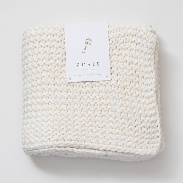 Comfy Knit Organic Cotton Baby Blanket - Soft White - Macy Carlisle