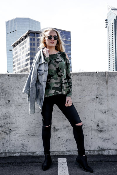 Camo Cold Shoulder - Macy Carlisle