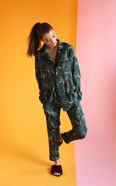 Silky Jungle Print Pajama Set