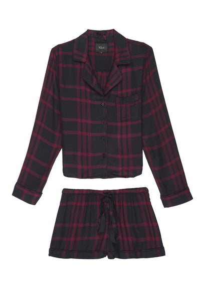 Long Sleeve + Short Pajama Set - Black Cherry - Macy Carlisle