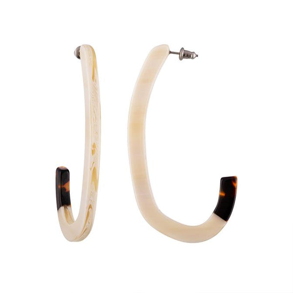 Margot Low Hoops - Alabaster