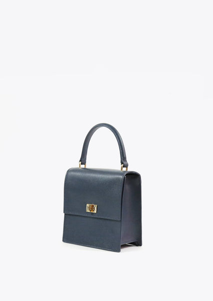 The Mini Lady Bag Saffiano - Navy - Macy Carlisle