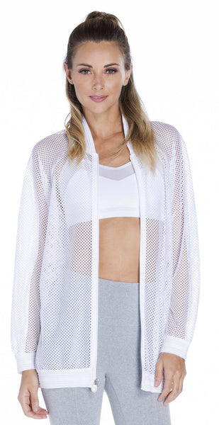 Oversized Open Mesh Bomber Jacket