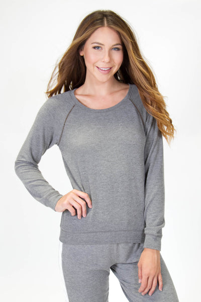 Charcoal Stitched Top - Macy Carlisle