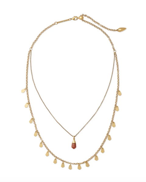 Freida Vintage Gold Multi Strand Necklace In Burnt Sienna Howlite
