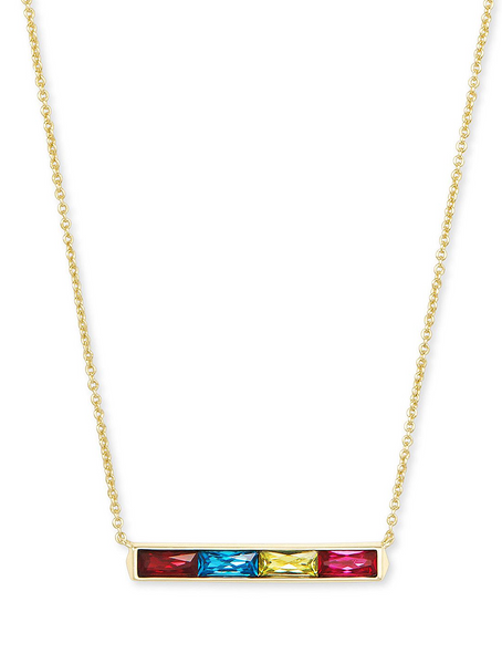 Jack Pendant Necklace - Gold / Jewel Tone Mix