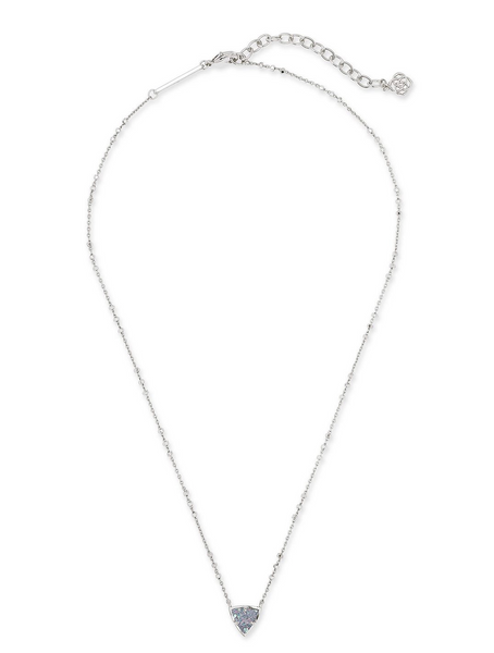 Perry Short Necklace - Rhodium Steel  / Gray Drusy