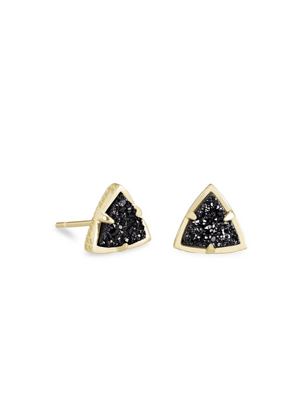 Perry Stud Earring - Gold / Black Drusy