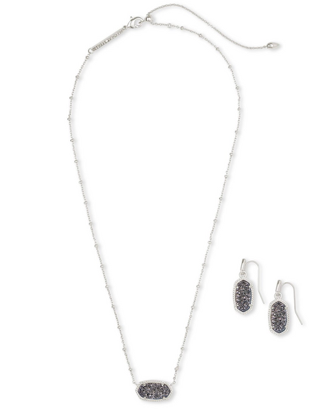 Satellite Elisa & Lee Gift Set - Rhodium / Platinum Drusy