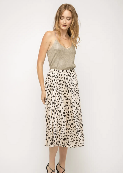 Pleated Dalmatian Print Skirt