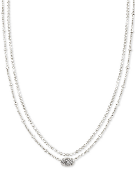 Emilie Multi Strand Necklace - Rhodium / Platinum Drusy