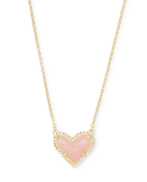Ari Heart Pendant - Gold / Rose Quartz