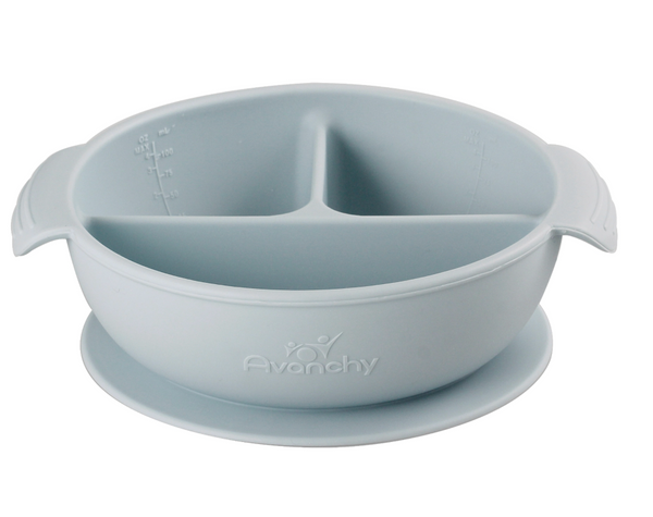 Silicone Divided Baby Bowl + Lid - Gray