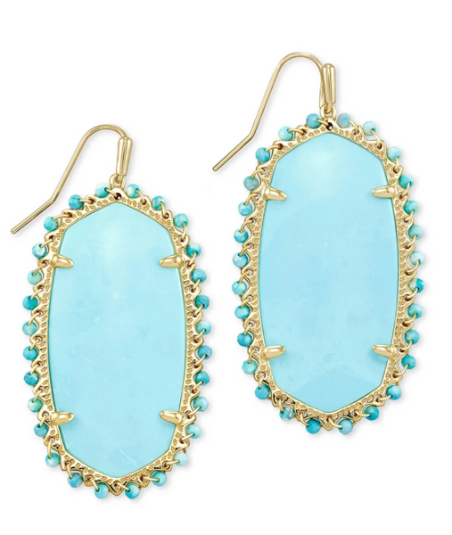 Danielle Beaded Earring - Gold / Light Blue Magnesite