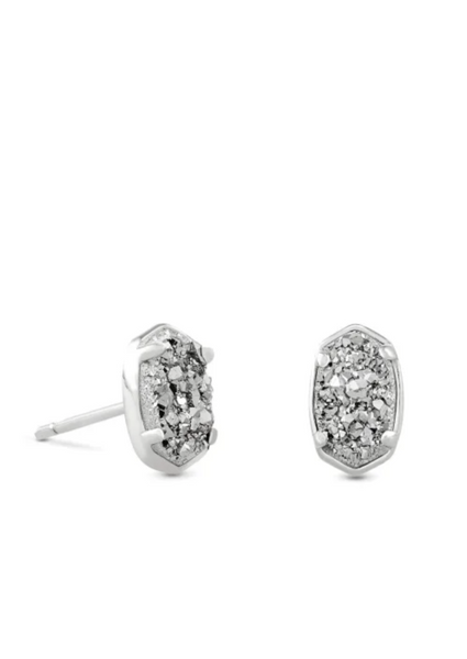 Emilie Stud Earring - Silver / Platinum Drusy