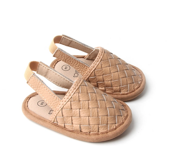 Woven Leather Baby Sandal - Latte