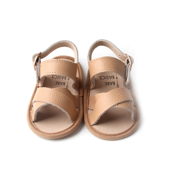 Strappy Leather Baby Sandals - Latte
