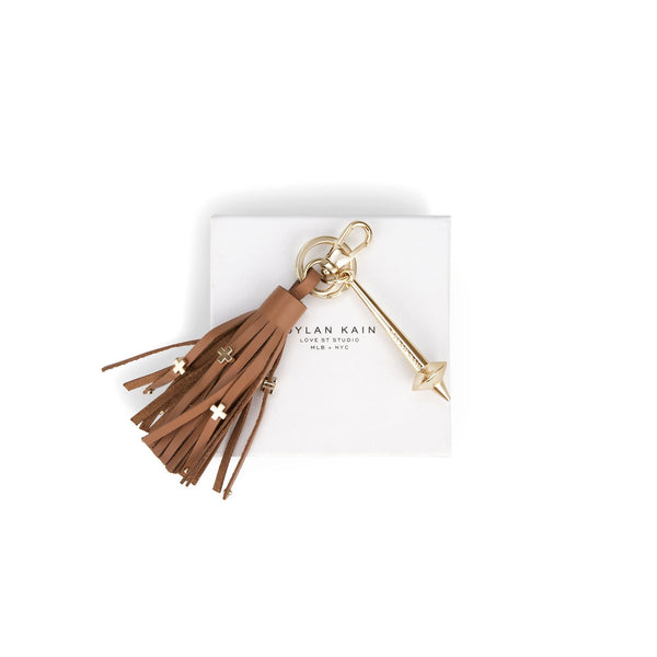 The Bowery Keychain Tan Light Gold