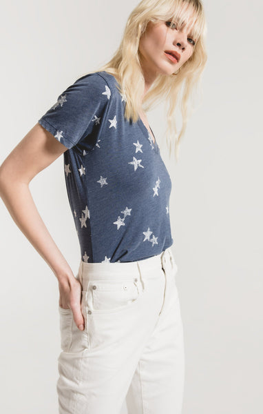 Distressed Star V-Tee