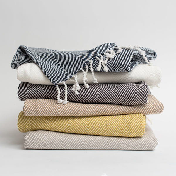 Organic Cotton Herringbone Throw - Mist