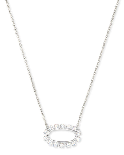 Elisa Open Frame Crystal Necklace - Silver White Crystal