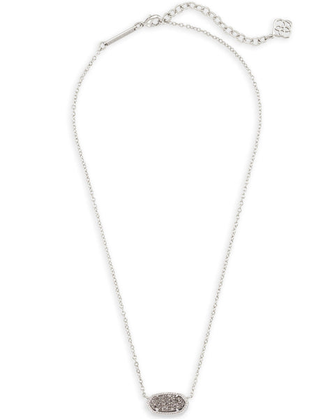 Elisa Necklace - Silver / Platinum Drusy