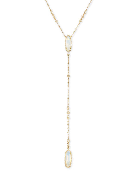 Layla Y Necklace - Gold / Opalite Illusion