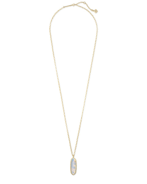 Layla Long Pendant Necklace - Gold Opalite Illusion