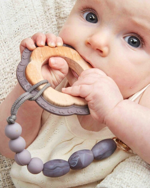 Pewter Teether + Clip Set