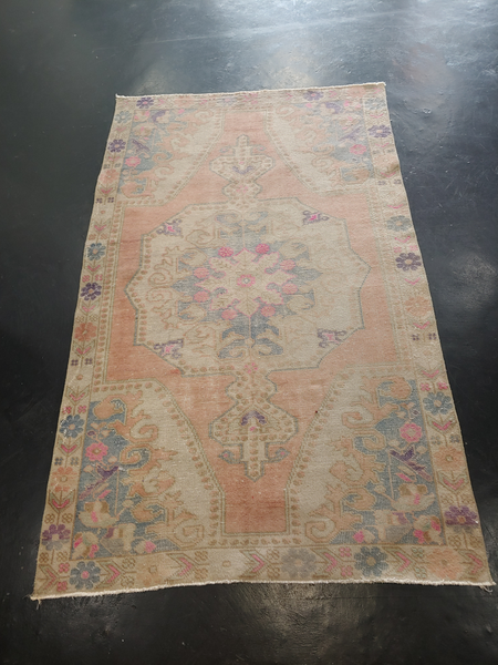 Vintage Mid-Century Distressed Turkish Rug - 4′2″ × 7′