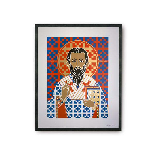 tuttiSanti - poster - Saint Ambrose - Sant'Ambrogio - front - shop design contemporary art prints