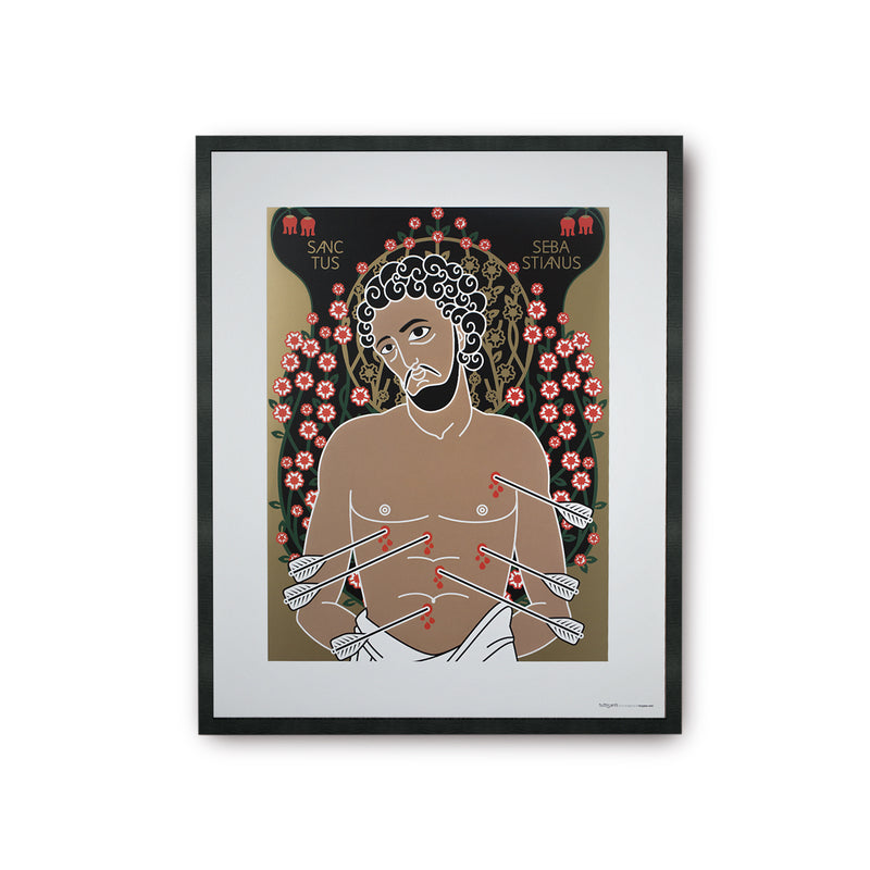 tuttiSanti - poster - Saint Sebastian - San Sebastiano - front - shop design contemporary art prints