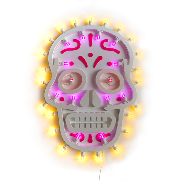 tuttiSanti - luminaria - Nuestra Señora de la Santa Muerte skull teschio led wall lamp - shop design contemporary art objects