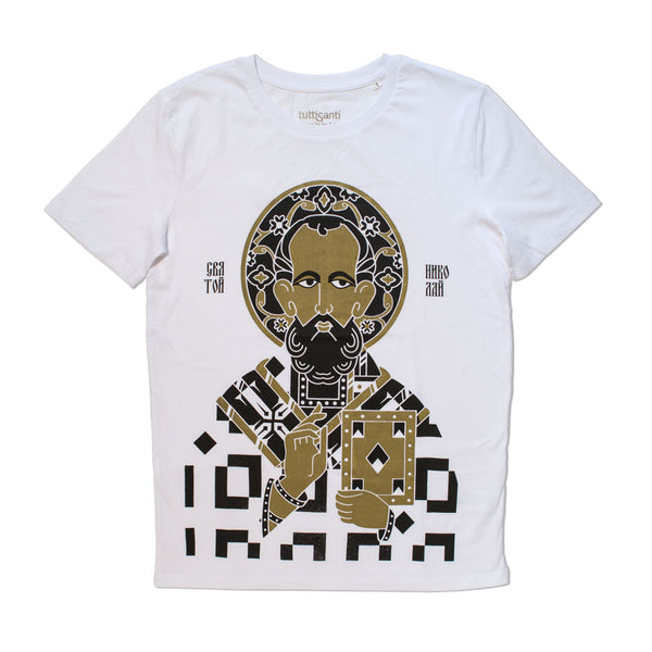 Saint Nicholas | limited edition | t-shirt | Shop fashion art made in Puglia | Buy an affordable cool design gift.