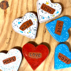 Ceramic Heart Magnets (Set of 6)